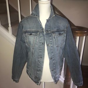 Abercrombie & Fitch distressed jean jacket size L